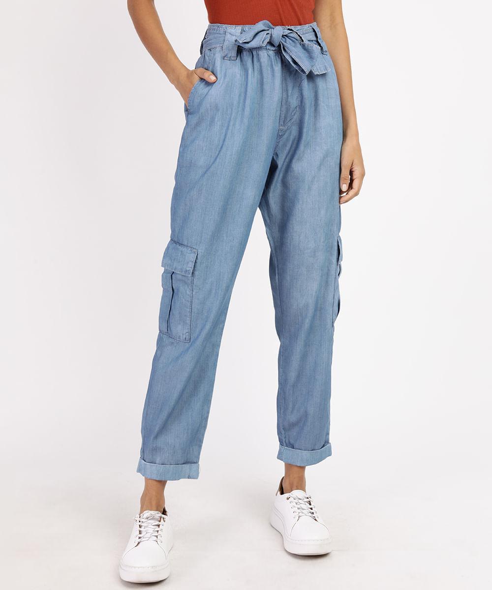 Calça Jeans Feminina Cargo Cintura Alta com Faixa para Amarrar Azul Médio