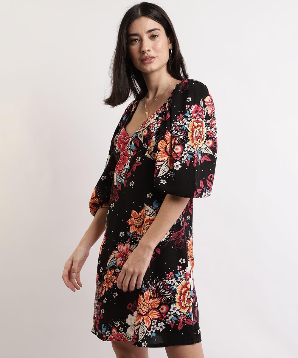 Vestido Feminino Curto Estampado Floral Manga Bufante Preto