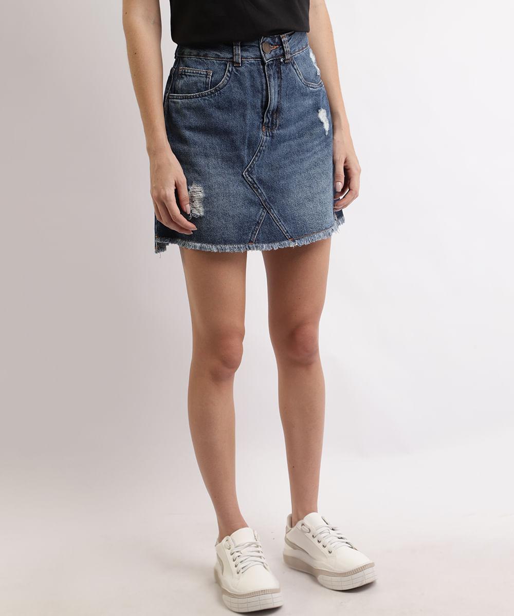 Saia Jeans Feminina Curta com Recorte e Rasgos Azul Médio