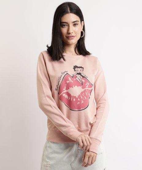 Blusao-de-Moletom-Feminino-Betty-Boop-Decote-Redondo-Rose-9967640-Rose_1