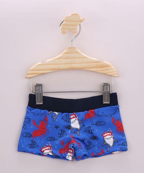 Sunga-Infantil-Boxer-Estampada-de-Tubaroes-com-Protecao-UV50--Azul-9957706-Azul_1