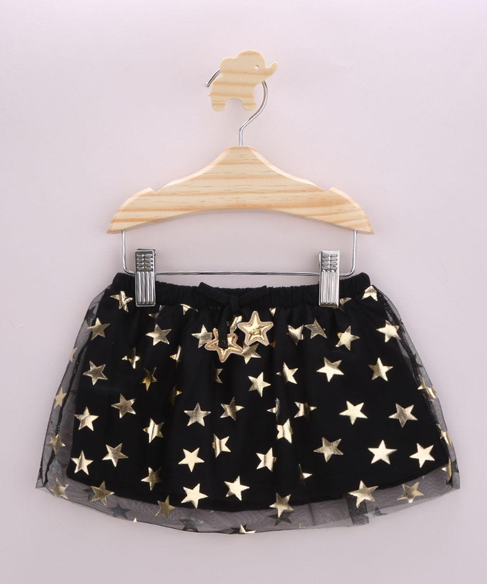 Saia Infantil em Tule Estampada de Estrelas Preta