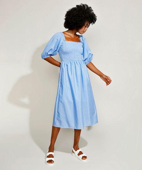 Vestido-Feminino-Mindset-Midi-Estampado-Xadrez-Vichy-com-Lastex-Manga-Bufante-Azul-Claro-9967303-Azul_Claro_1