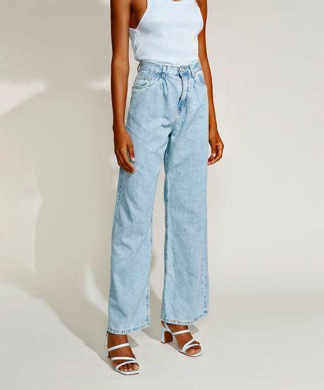 Calca-Jeans-Feminina-Mindset-Wide-Reta-Cintura-Super-Alta-com-Pregas-Azul-Claro-9969086-Azul_Claro_1