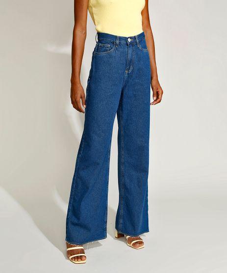 Calca-Jeans-Feminina-Mindset-Wide-Reta-Cintura-Super-Alta-com-Barra-a-Fio-Azul-Escuro-9970744-Azul_Escuro_1