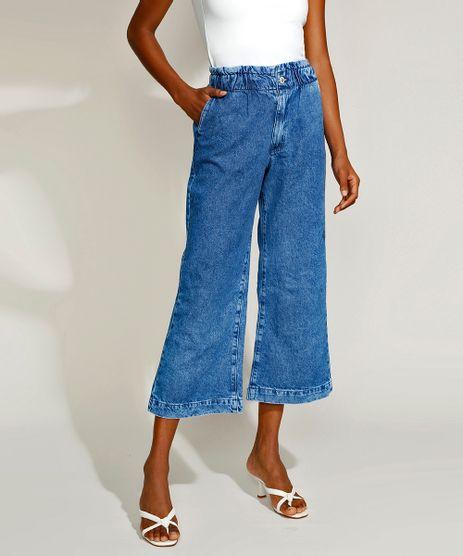 Calca-Jeans-Feminina-Mindset-Wide-Cropped-Cintura-Super-Alta-Marmorizada-Azul-Medio-9969105-Azul_Medio_1