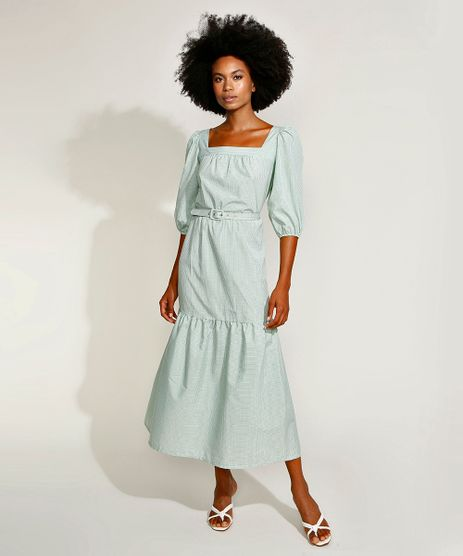 Vestido-Feminino-Mindset-Midi-Estampado-Xadrez-Vichy-com-Cinto-Manga-Bufante-Verde-Claro-9970760-Verde_Claro_1