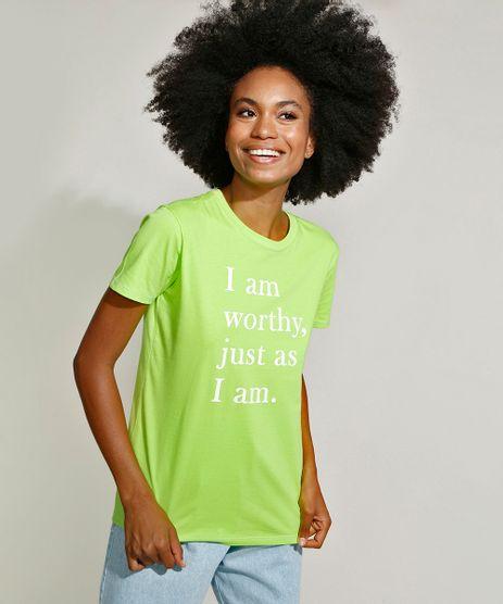 T-Shirt-Feminina-Mindset--I-am-Worthy--Manga-Curta-Decote-Redondo-Verde-Claro-9971089-Verde_Claro_1