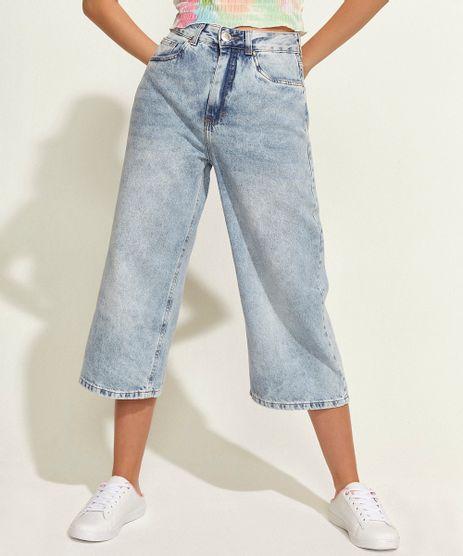 Calca-Jeans-Feminina-Pantacourt-Cintura-Super-Alta-com-Bolsos-Azul-Claro-9963704-Azul_Claro_1
