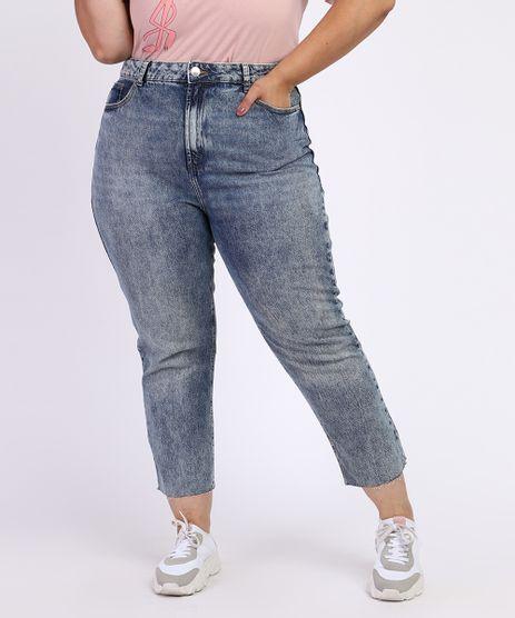Calca-Jeans-Feminina-Plus-Size-Reta-Cigarrete-Cintura-Alta-Azul-Medio-9968947-Azul_Medio_1