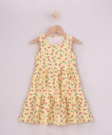 Vestido-Infantil-Estampado-Floral-com-Recortes-Alca-Larga-Amarelo-9965044-Amarelo_1
