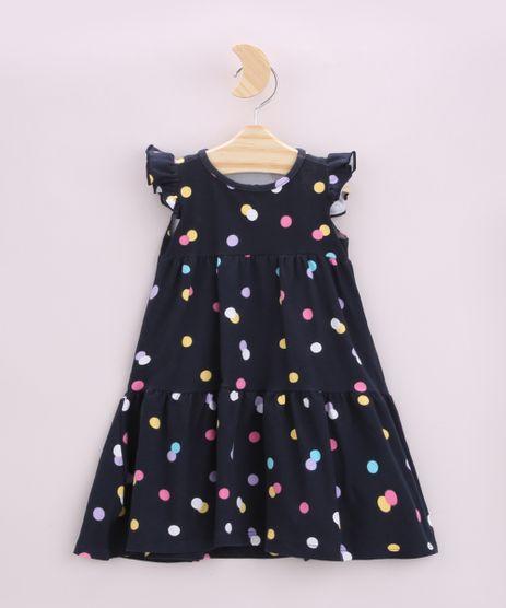 Vestido-Infantil-Estampado-de-Poa-Manga-Curta-com-Babado-Azul-Marinho-9953947-Azul_Marinho_1