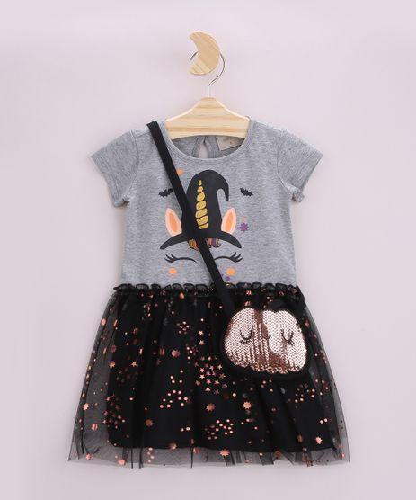 Vestido-Infantil-Halloween-Unicornio-Bruxo-com-Tule-Manga-Curta-e-Bolsa-em-Paetes-Cinza-Mescla-9957560-Cinza_Mescla_1