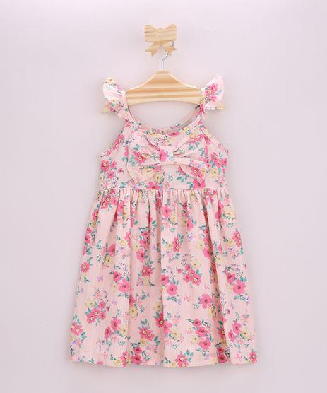 Vestido-Infantil-Estampado-Floral-com-Laco-e-Babado-na-Alca-Rosa-Claro-9964371-Rosa_Claro_1