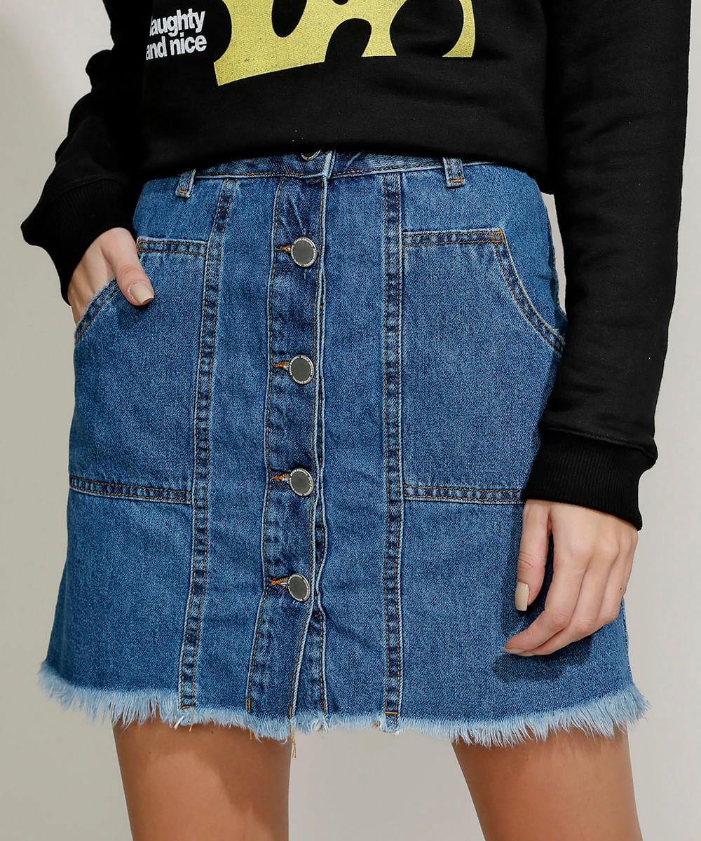 Saia Jeans Feminina Curta com Botões e Bolsos Azul Médio