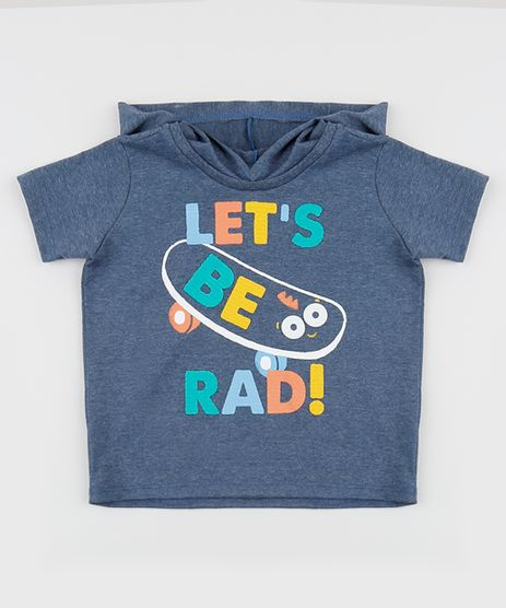 Camiseta-Infantil--Let-s-be-Rad---com-Capuz-Manga-Curta-Gola-Careca-Azul-Escuro-9955191-Azul_Escuro_1