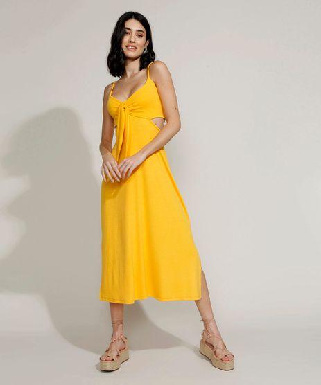 Vestido-Feminino-Midi-com-Vazado-e-Fenda-Alca-Fina-Amarelo-9970311-Amarelo_1