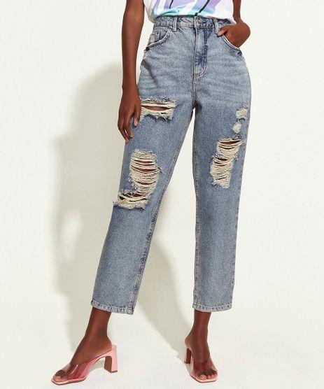 Calca-Jeans-Feminina-Triya-Mom-Cintura-Super-Alta-Destroyed-com-Bordado-de-Arco-Iris-Azul-Medio-9965083-Azul_Medio_1