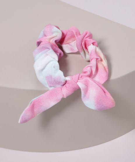 Elastico-Feminino-de-Cabelo-Estampado-Tie-Tye-com-Laco-Rosa-9968547-Rosa_1