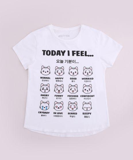 Blusa-Juvenil-Gatinhos--Today-I-Feel-----Manga-Curta-Off-White-9888008-Off_White_1