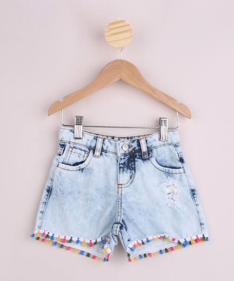 Short-Jeans-Infantil-Desfiado-e-com-Pompons-Azul-Claro-9957886-Azul_Claro_1