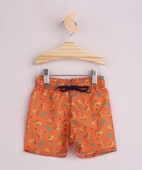 Short-Infantil-Surf-Estampado-de-Tigres-Cos-com-Cordao-Laranja-9960873-Laranja_1