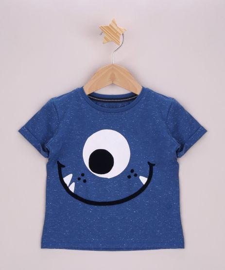 Camiseta-Infantil-Monstrinho-Aveludado-Manga-Curta-com-Dobra-Azul-9965778-Azul_1