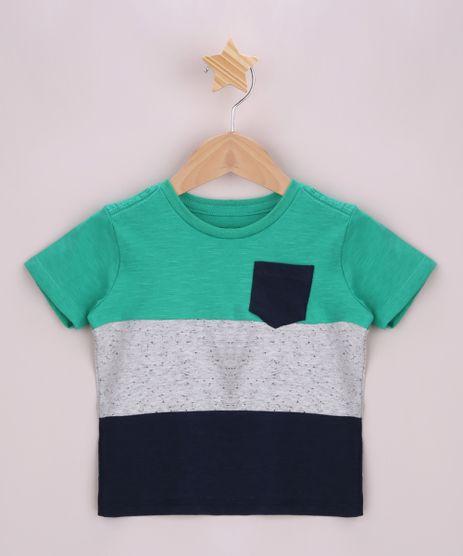Camiseta-Infantil-com-Recortes-e-Bolsinho-Manga-Curta--Verde-9965792-Verde_1