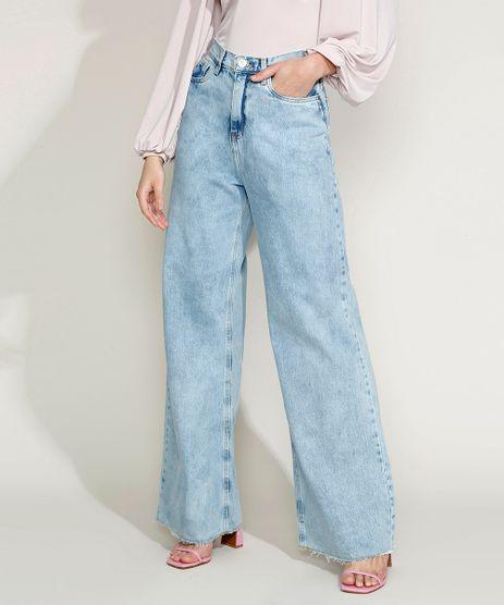 Calca-Jeans-Feminina-Mindset-Wide-Reta-Cintura-Super-Alta-com-Barra-a-Fio-Azul-Claro-9970744-Azul_Claro_1