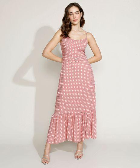 Vestido-Feminino-Mindset-Longo-Estampado-de-Poa-com-Cinto-Alca-Fina-Rose-9970746-Rose_1