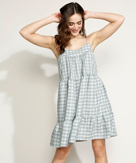 Vestido-Feminino-Mindset-Curto-Estampado-Xadrez-Vichy-com-Recortes-Alca-Fina-Verde-9970767-Verde_1
