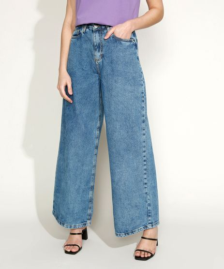 Calca-Jeans-Feminina-Equivoco-Wide-Reta-Cintura-Alta-Marmorizada-Azul-Medio-9974616-Azul_Medio_1