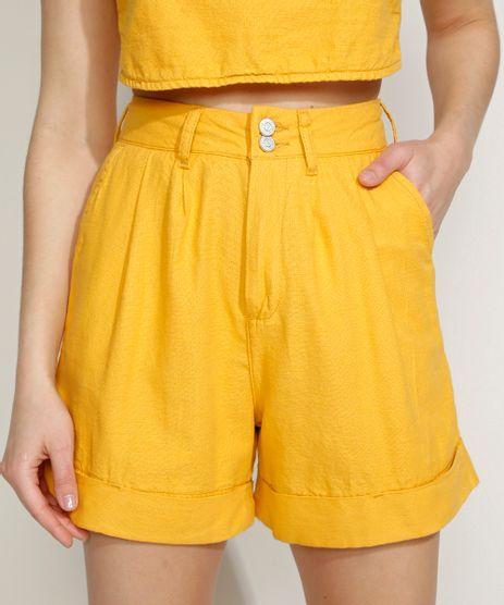 Bermuda-Feminina-Equivoco-Cintura-Super-Alta-Alfaiatada-com-Pregas-Amarela-9974617-Amarelo_1