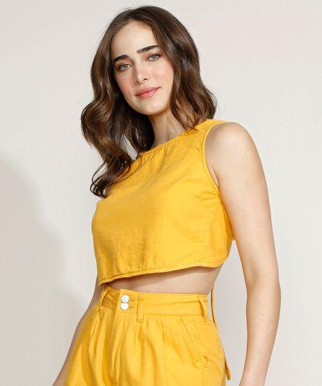 Top-Cropped-Feminino-Equivoco-com-Amarracao-Alca-Larga-Decote-Redondo-Amarelo-9974618-Amarelo_1