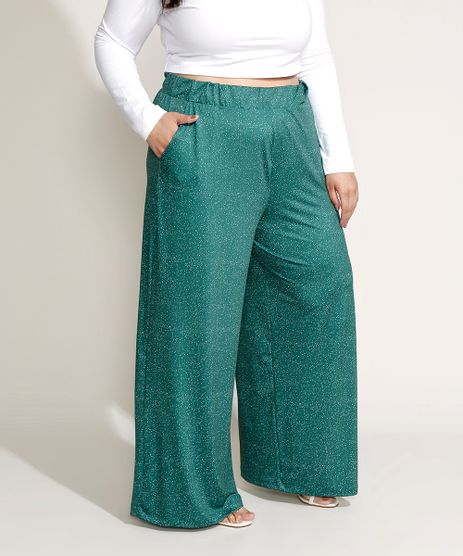 Calca-Feminina-Plus-Size-Mindset-Pantalona-Cintura-Alta-Estampada-de-Poa-com-Bolsos-Verde-9970769-Verde_1