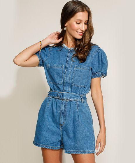 Macaquinho-Jeans-Feminino-com-Bolsos-e-Cinto-Manga-Bufante-Azul-Medio-9963958-Azul_Medio_1