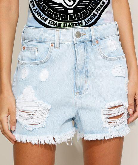 Short-Jeans-Feminino-Mom-Cintura-Super-Alta-Destroyed-com-Barra-Desfiada-Azul-Claro-9966760-Azul_Claro_1