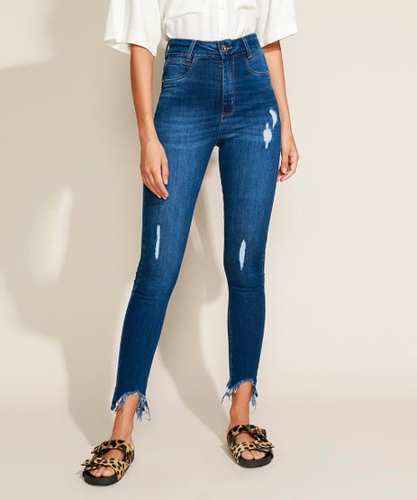 Calca-Jeans-Feminina-Sawary-Cigarrete-Push-Up-Cintura-Alta-com-Barra-Destroyed-Azul-Escuro-9974034-Azul_Escuro_1