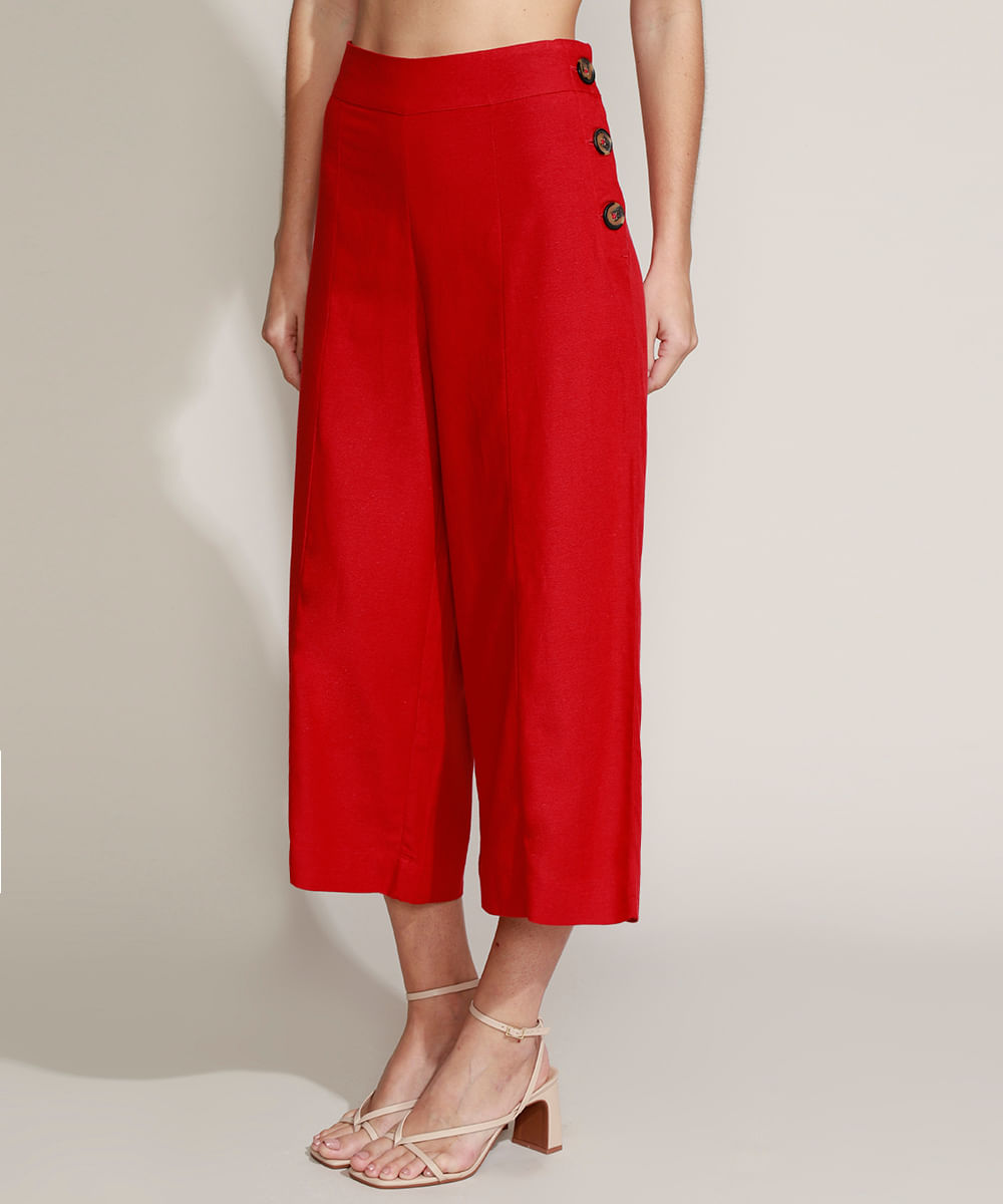 Calça Feminina Pantacourt Cintura Alta com Linho Vermelha