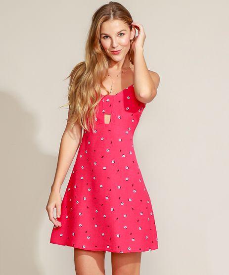 Vestido-Feminino-Curto-Evase-Estampado-Mini-Print-Floral-com-Vazado-Alca-Fina-Rosa-Escuro-9947557-Rosa_Escuro_1