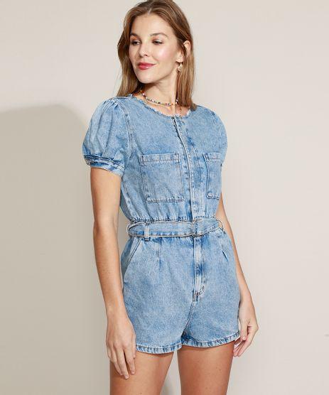 Macaquinho-Jeans-Feminino-Marmorizado-com-Bolsos-e-Cinto-Manga-Bufante-Azul-Claro-9963974-Azul_Claro_1