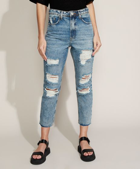 Calca-Jeans-Feminina-Mom-Cropped-Cintura-Super-Alta-Destroyed-com-Barra-a-Fio-Azul-Medio-9963985-Azul_Medio_1