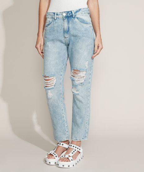 Calca-Jeans-Feminina-Boyfriend-Cintura-Media-Marmorizada-Destroyed-Azul-Claro-9964527-Azul_Claro_1