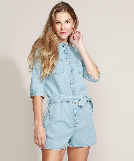 Macaquinho-Jeans-Feminino-com-Bolsos-e-Faixa-para-Amarrar-Manga-3-4-Azul-Claro-9964536-Azul_Claro_1