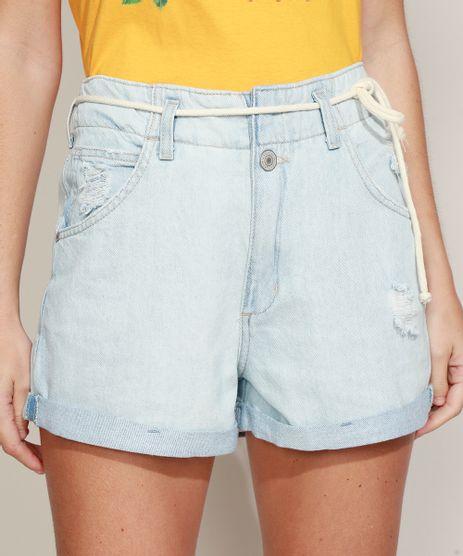 Short-Jeans-Feminino-Mom-Cintura-Super-Alta-Destroyed-com-Cinto-Cadarco-Azul-Claro-9964988-Azul_Claro_1