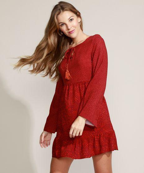 Vestido-Feminino-Curto-Estampado-de-Folhagem-com-Babado-e-Tassel-Manga-Sino-Vermelho-9973776-Vermelho_1