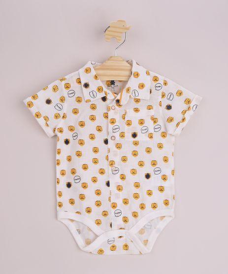 Body-Camisa-Infantil-Estampado-de-Tigres-com-Botoes-Bolso-e-Gola-Esporte-Manga-Curta-Off-White-9950580-Off_White_1