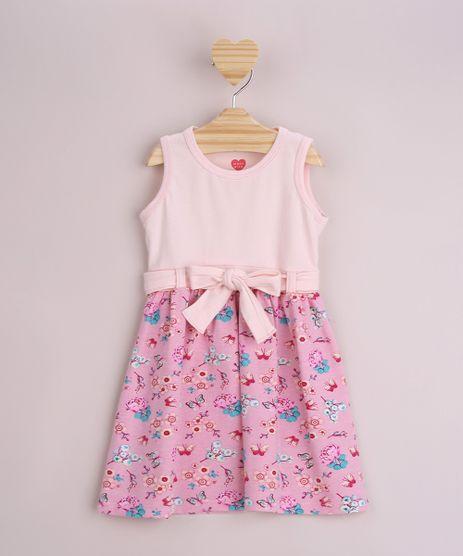 Vestido-Infantil-Estampado-Floral-com-Faixa-para-Laco-Sem-Manga-Rosa-9953020-Rosa_1