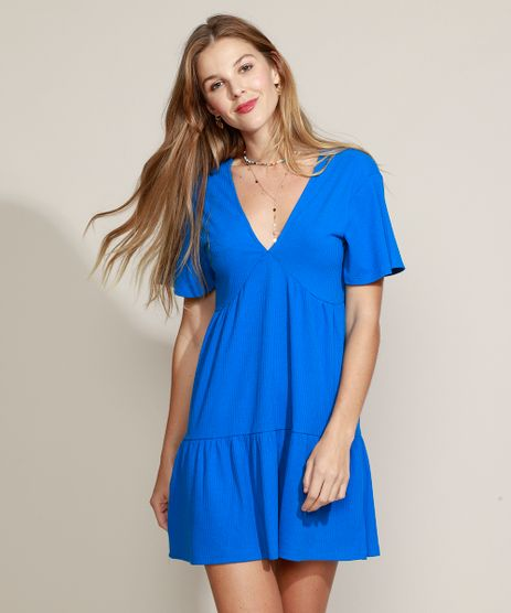 Vestido-Feminino-Curto-Canelado-com-Babado-e-Amarracao-Manga-Curta-Azul-9960949-Azul_1