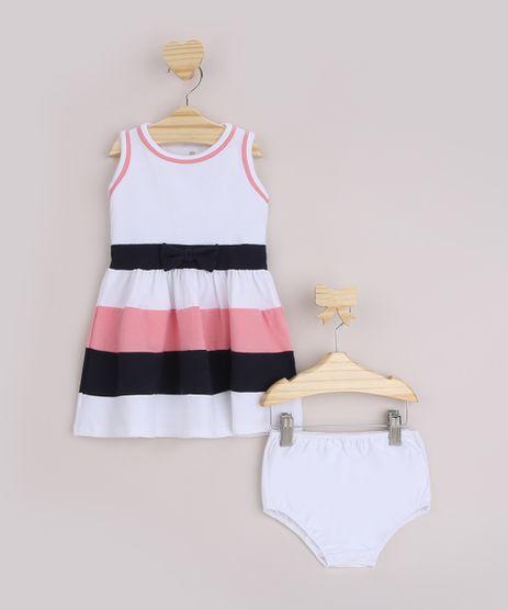Vestido-Infantil-Estampado-Listrado-com--Laco-Sem-Manga---Calcinha-Branco-9961313-Branco_1